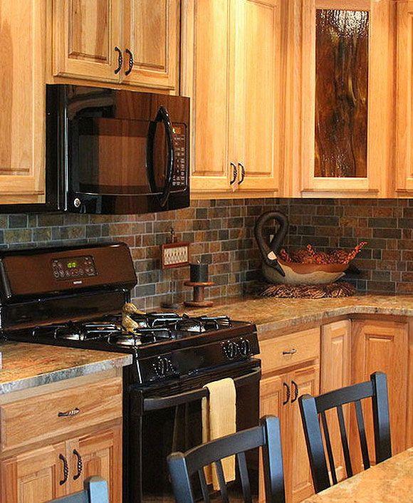 Kitchen Backsplash Ideas With Dark Oak Cabinets: Multi Color Slate Mosaic Kitchen Backsplash Tile From