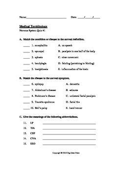 Medical Terminology Quiz 1 Nervous System At