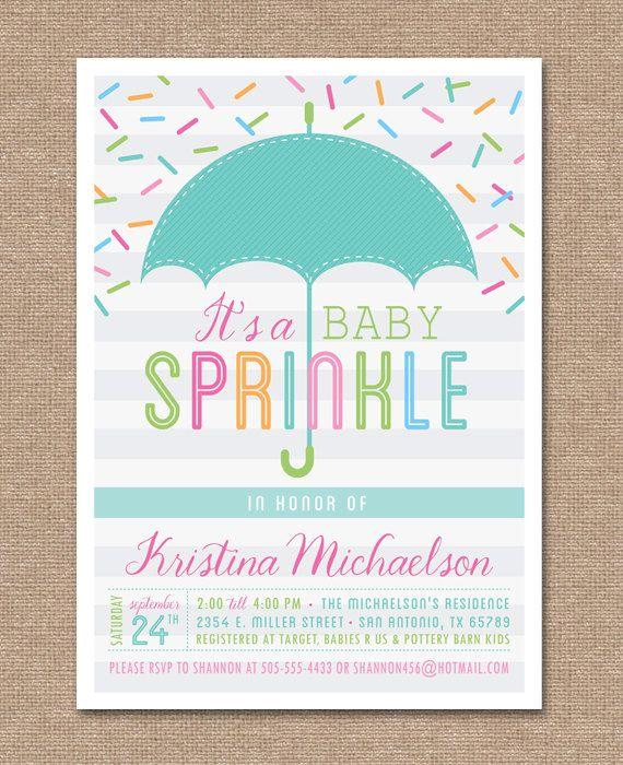 Printable Baby Sprinkle Invitation Shower Umbrella