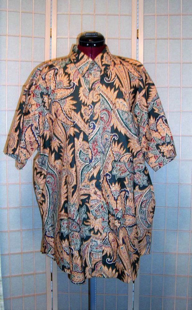 Chaps Ralph Lauren Sz L Men's Multi Color Paisley 100% Cotton SS Dress Shirt #RalphLaurenChaps