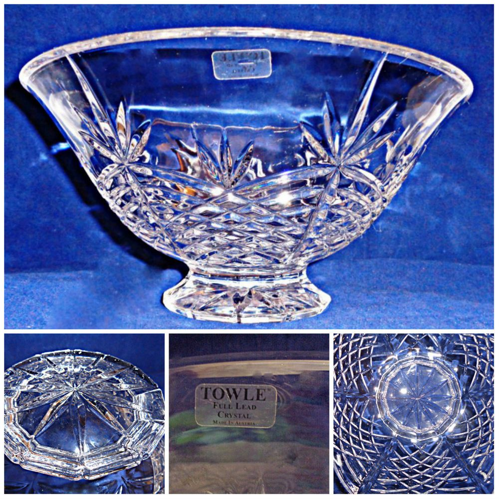 Superb towle crystal bowl fire sparkle original label impressive towle crystal sparkling and fiery bowl floridaeventfo Image collections
