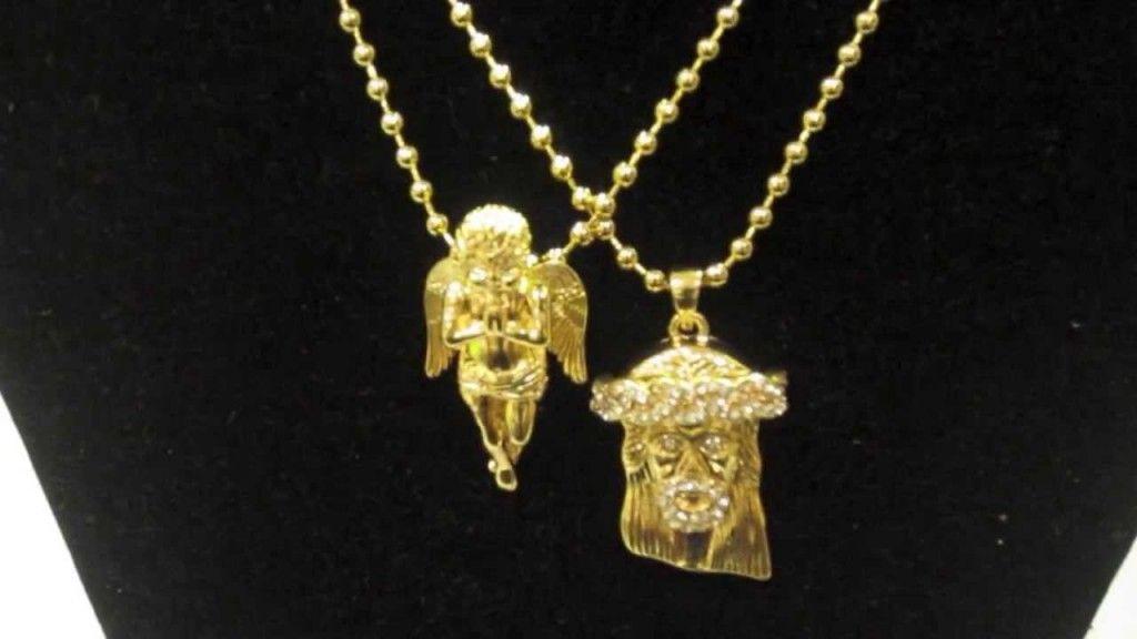 Gold micro mini jesus piece praying angel pendant ball chain gold micro mini jesus piece praying angel pendant ball chain necklace rick ross asap rocky big aloadofball Choice Image