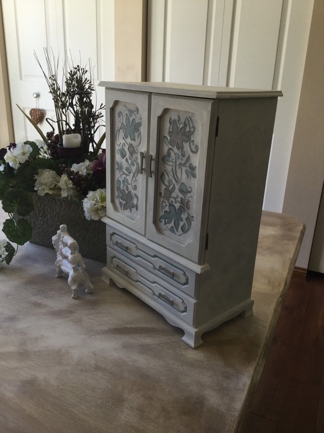 Vintage Upcycled Hand Painted Jewelry Armoire Shabby Chic Cottage