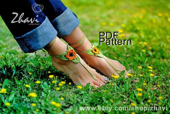 CROCHET barefoot sandals PATTERN, Orange flower barefoot sandals #10, PDF pattern