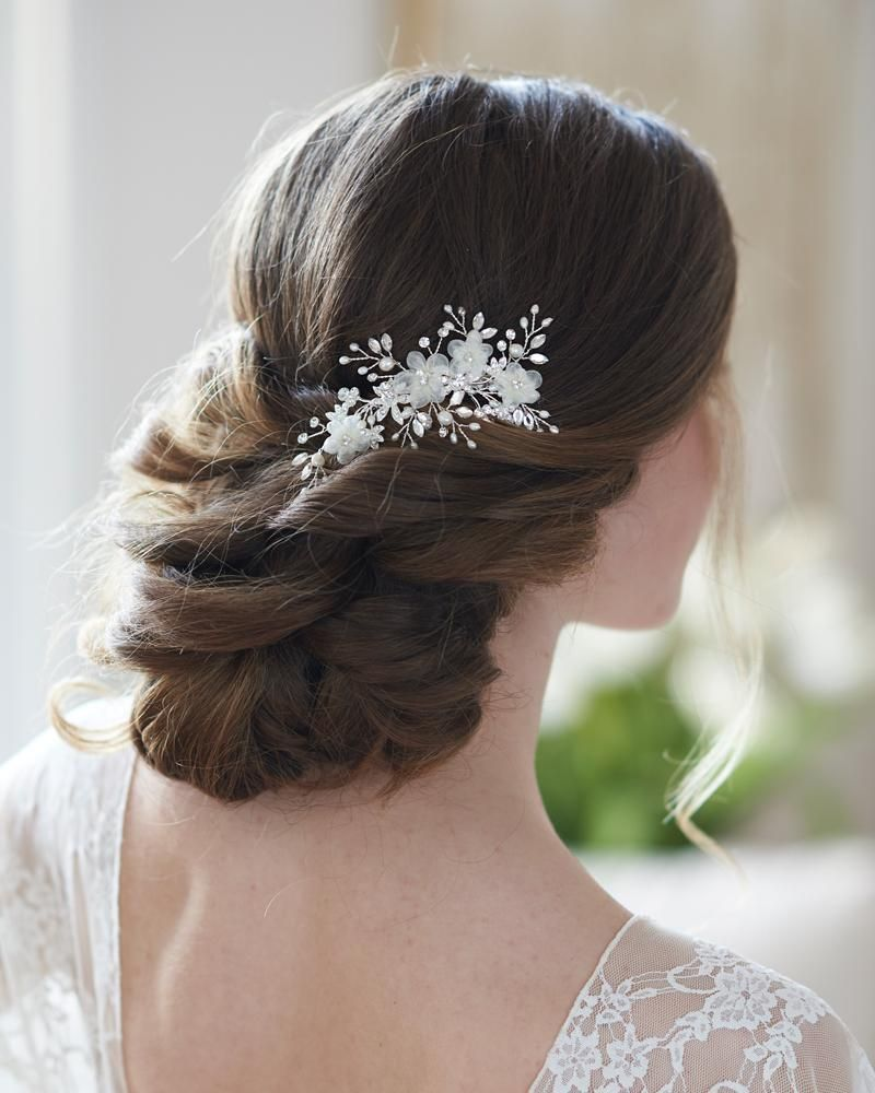 mila floral hair clip in 2019   bridal combs & clips