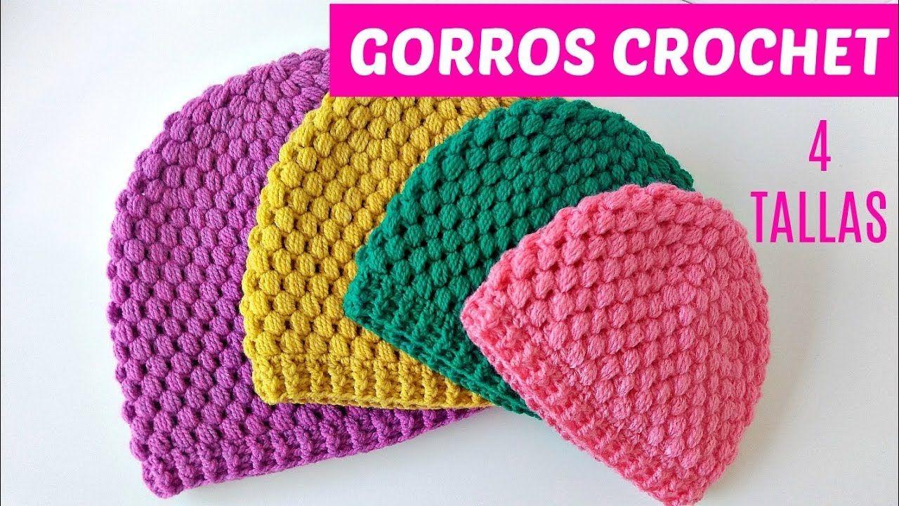 Cómo tejer gorros a crochet en punto mota 4 tallas  b5df0c040b1