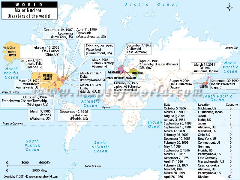 World Map showing Major Nuclear Disasters of the World maps - fresh world map in russian