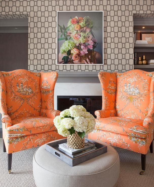 Gray And Orange Living Room Features Walls Clad In Silver Geometric Wallcovering Phillip