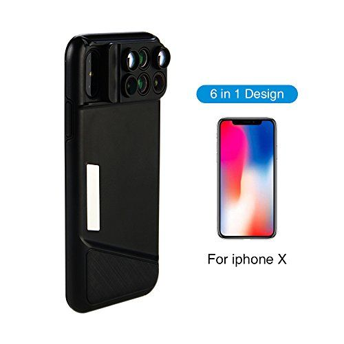6 in 1 Dual Camera Lens for iPhone X, 160 Degree Fisheye