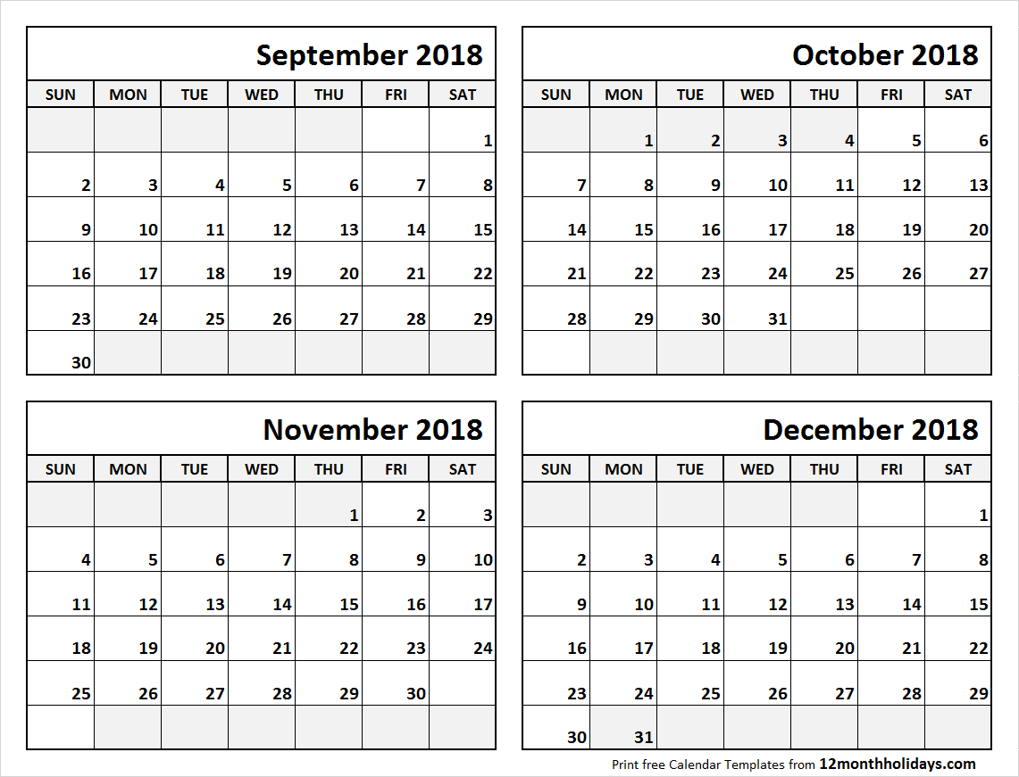 image regarding 4 Month Calendar Printable referred to as 4 Thirty day period Calendar September in direction of December 2018 Calendars