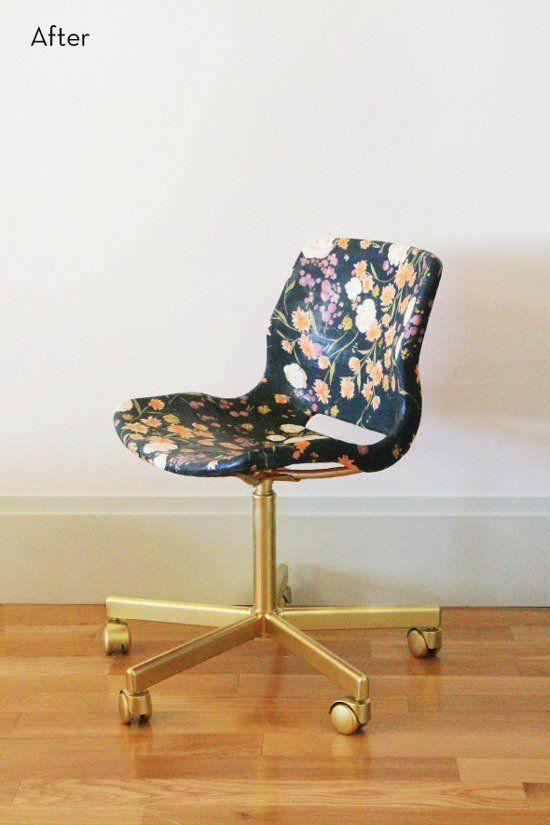 ikea hack: snille swivel chair goes from mod to feminine   swivel