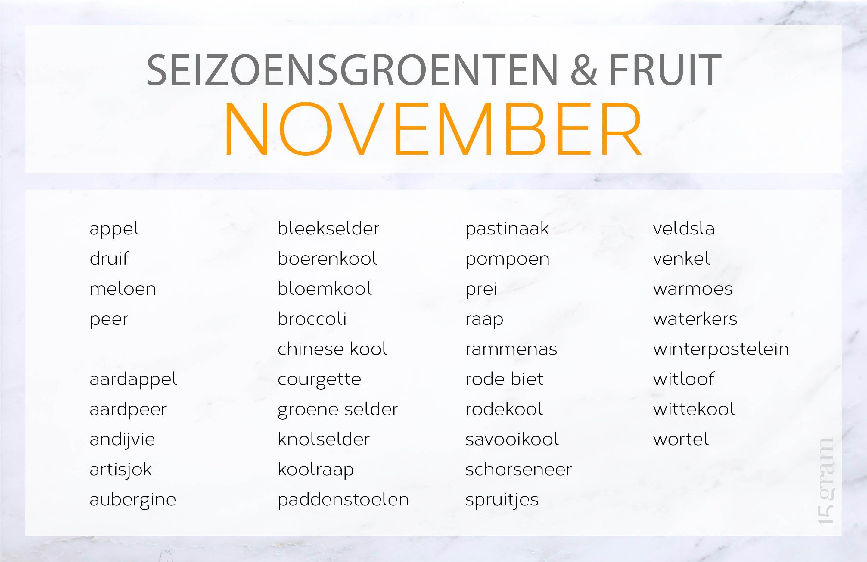 Ontdek de lekkerste recepten met seizoensproducten van november. Heerlijke stoofpotjes, wild en gerechten om al te oefenen voor de feestdagen.