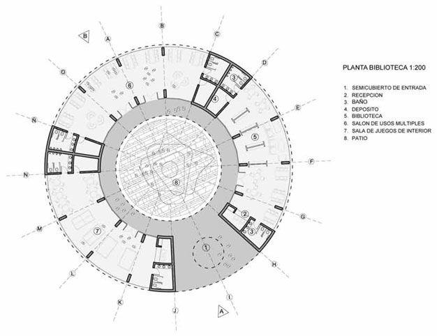 Planta de uma biblioteca circular desenho animado for Planta arquitectonica biblioteca