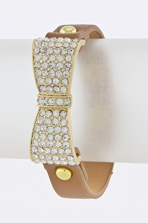 Leather snap bracelet with Rhinestone bow by FourCsBoutique, $9.25