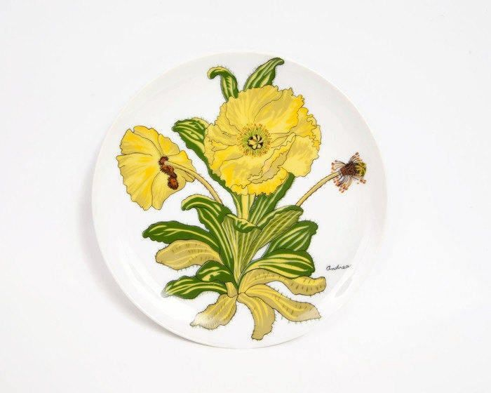 Vintage Yellow Daffodil Plate Enamel Flower Daffodils Andrea by Sadek Japan Japanese Flowers Decorative Display Plate Kitchen Ware