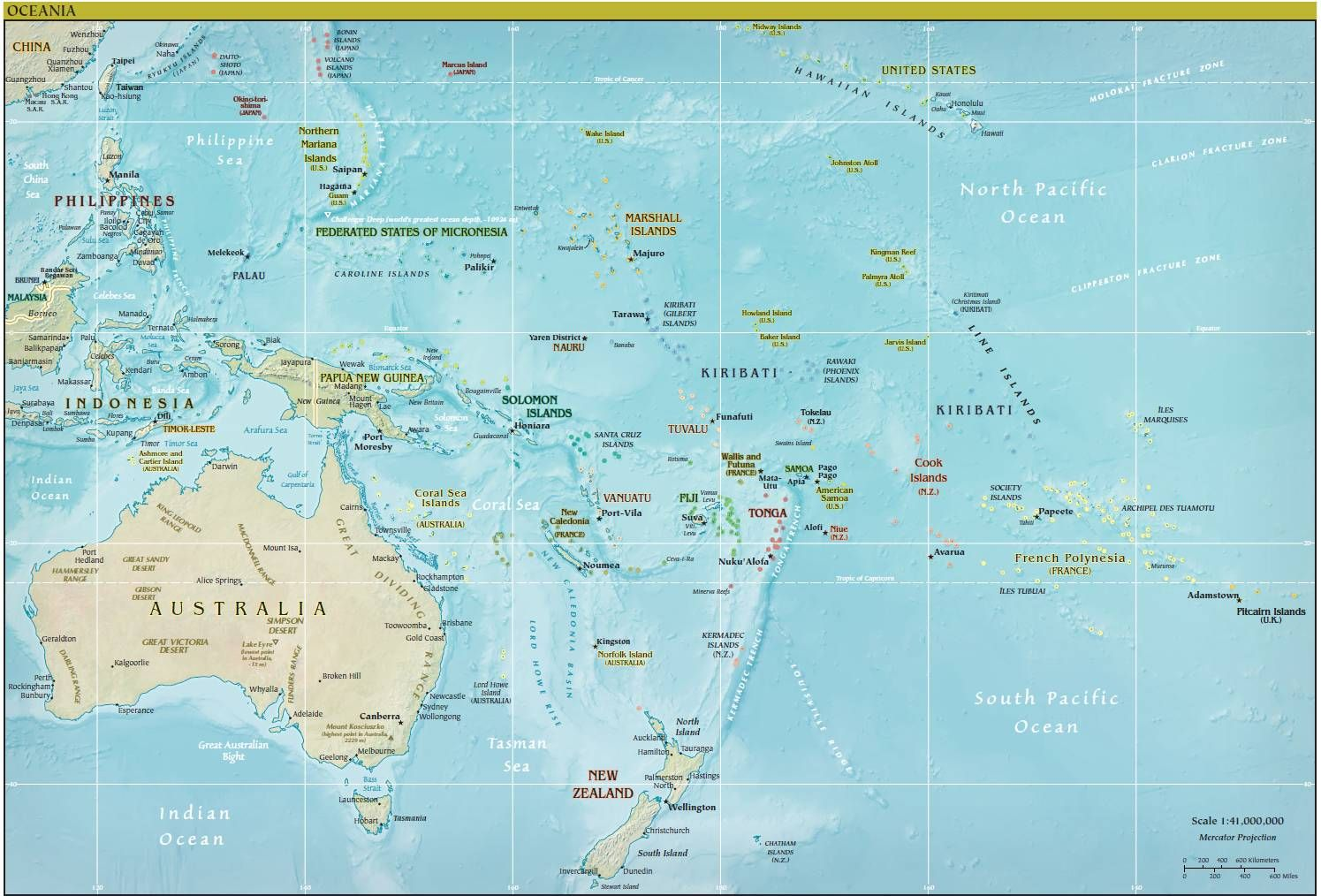 Click to see large Map of Oceania History and Geography