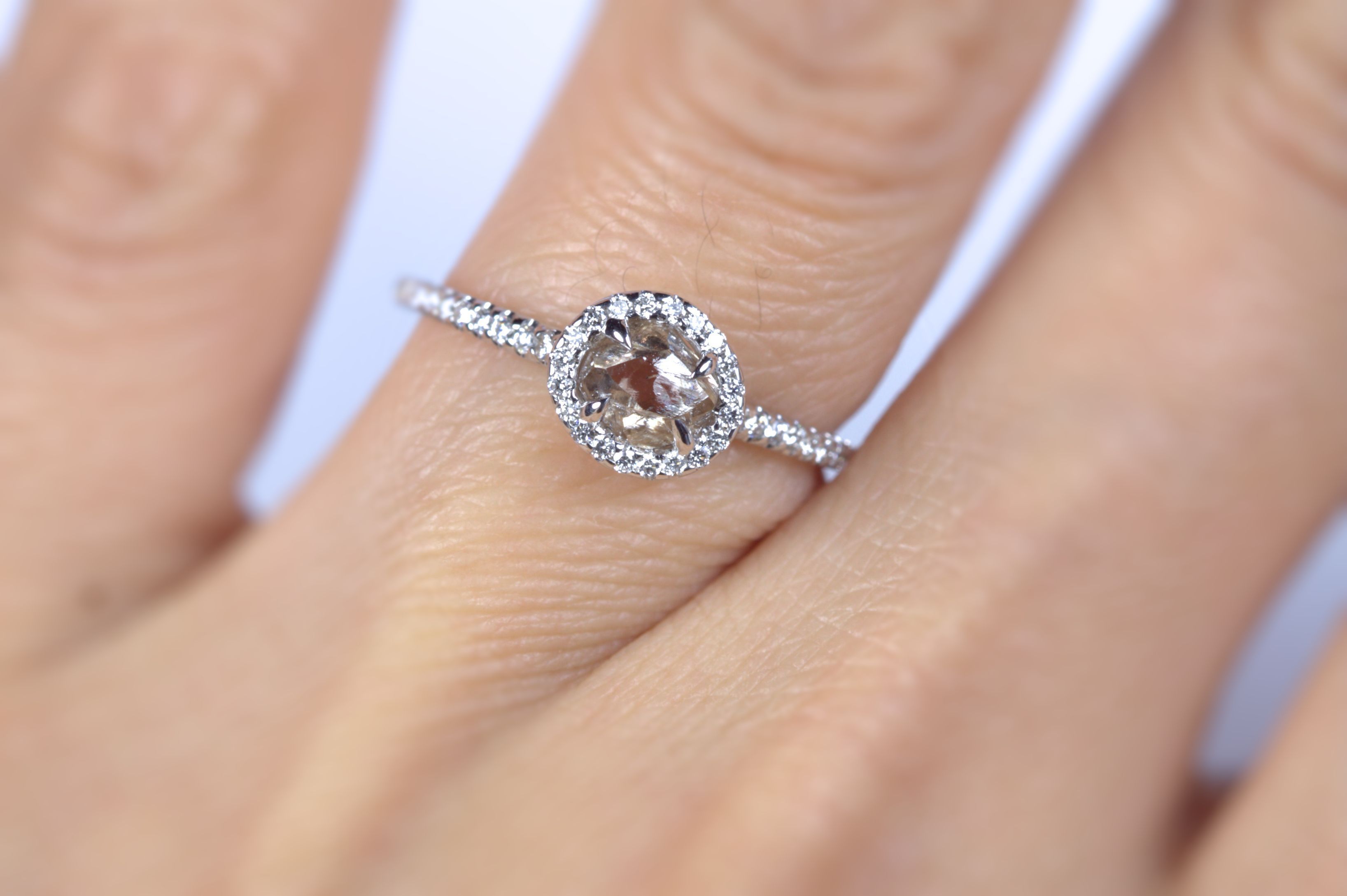 Taupe Colored Rough Diamond Engagement Ring From Diamond In The