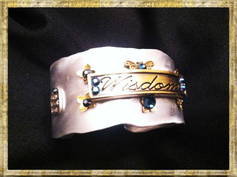 "Bracelets made by a friend...""Wisdom"" cuff bracelet. $50.00, via Etsy."