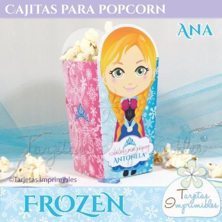 Cajitas imprimibles para popcorn o pochoclos Ana de Frozen, texto editable.