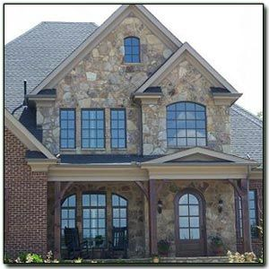 Stone brick facade and windows brick stone combos for for Brick and stone house facades