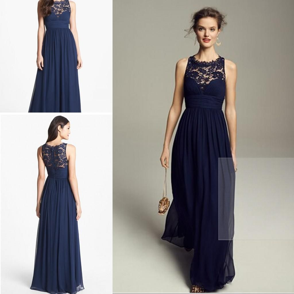 2015 Navy Blue Chiffon Long Bridesmaid Dresses Sheer Lace Jewel ...