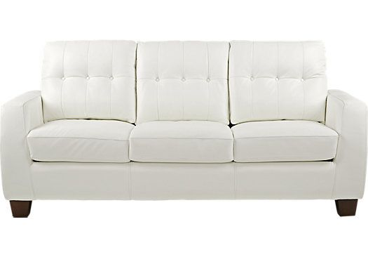 Santoro White Leather Sleeper | White leather sofas, Leather ...