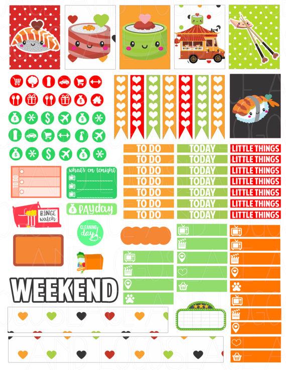 Printable Planner Stickers Kawaii Sushi Weekly Kit por LaceAndLogos