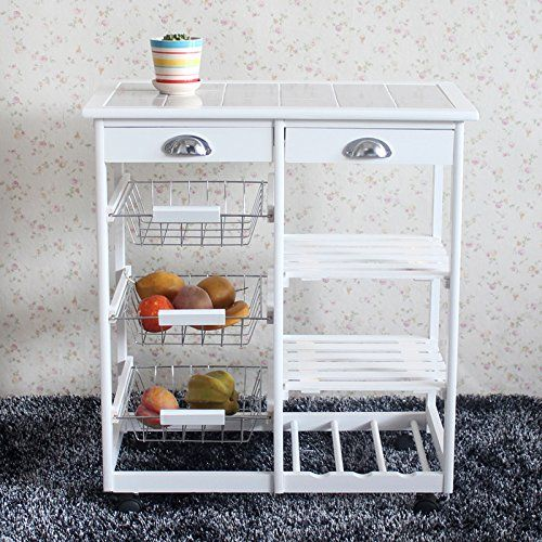 Portable Rolling Kitchen Dining Room Storage Rack With Drawers