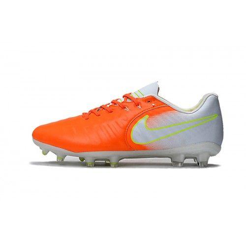 size 40 557fa 12245 Nike Tiempo - Chaussures De Foot 2017 Nike Tiempo Legend VII FG Homme Blanc  Orange Vendre