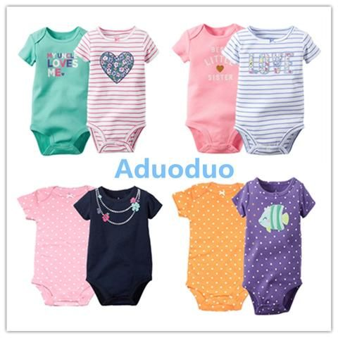 596fca54f New 2PCS Baby Girls Bodysuits Newborn Clothes Body Bebe Short Sleeve ...