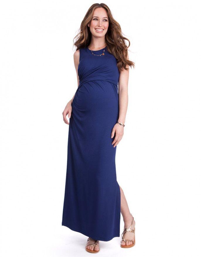 08ccc2264bc Ink Blue Maternity   Nursing Maxi Dress