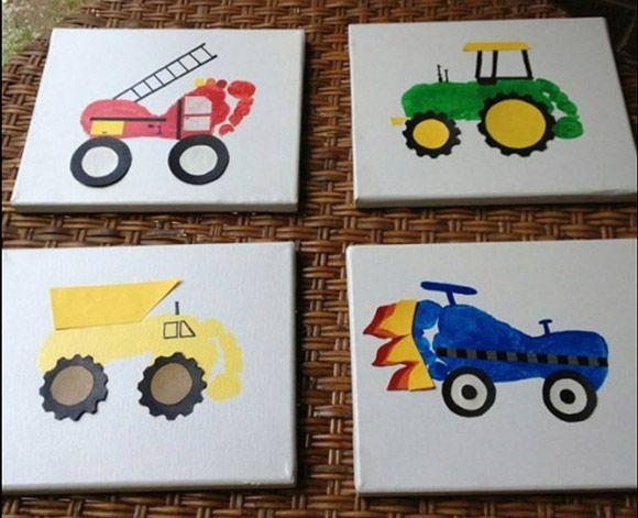 10x Vaderdag Cadeau Knutselen Verkeer Baby Crafts Footprint Art