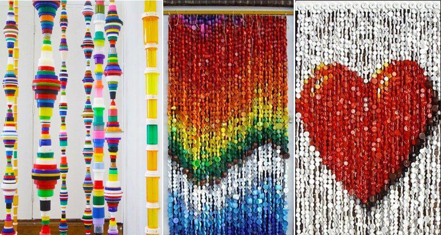 Ideas de cortinas de tapas de botellas de plástico./ Ideas of curtains plastic bottle lids. #recycle design