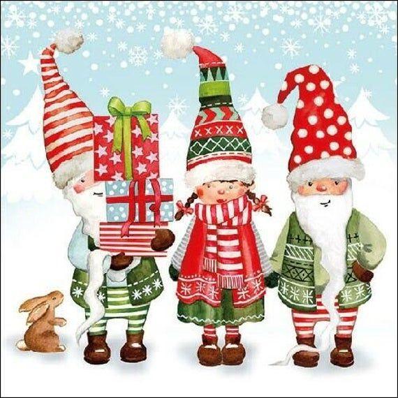 Party Gnomes Gnome City Xmas Christmas Paper Napkin Serviette For Decoupage Scrapbooking Paper Craft #papernapkins