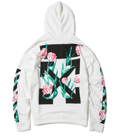 8af20d175e51 Vintage feels and soft floral pleasures Off White Tulip Diagonal Hoodie.  Colors  Black White Sizes  M-XL Worldwide Shipping Available.