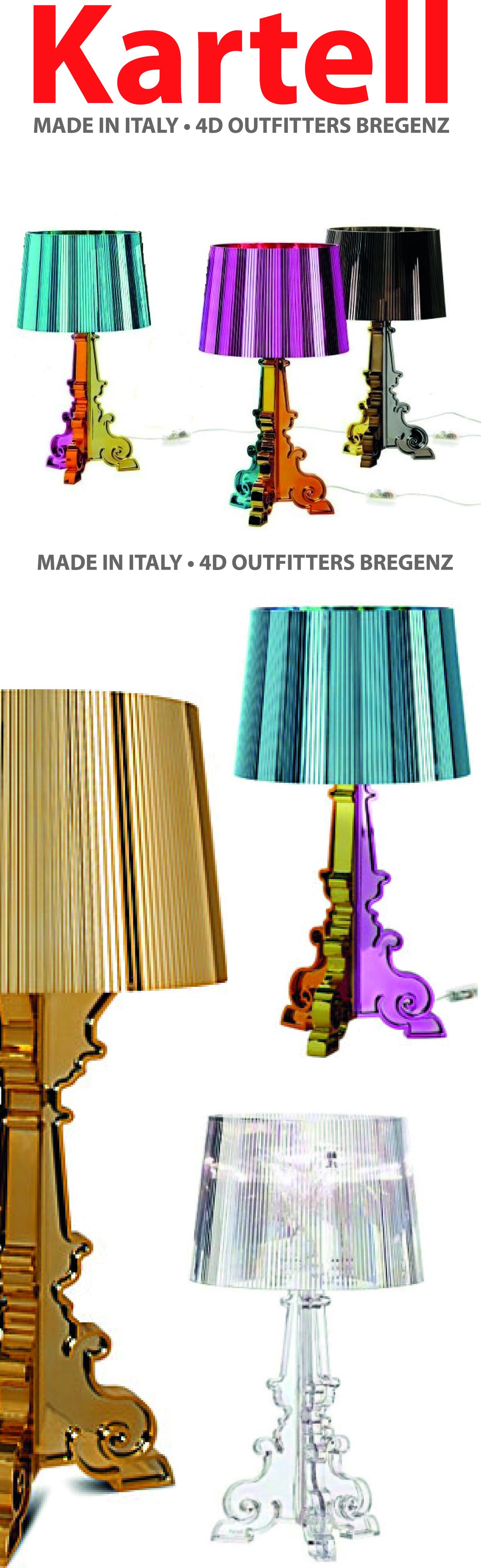 Die Bourgie Tischlampe wurde von Ferrucico Laviani 2004 für Kartell entworfen. Die revolutionäre Neuerung dieser Tischleuchte besteht darin, dass sie vollständig aus transparentem oder durchgefärbtem Polykarbonat hergestellt ist. Auf der einen Seite haben wir hier Klassizität, Luxus und Tradition, auf der anderen Innovation, Transparenz und eine gewisse Keckheit.    Erhältlich sind die Bourgie Tischleuchten von Kartell in verschiedenen Farbtönen.    Preis ab 222€    http://www.4dbregenz.at