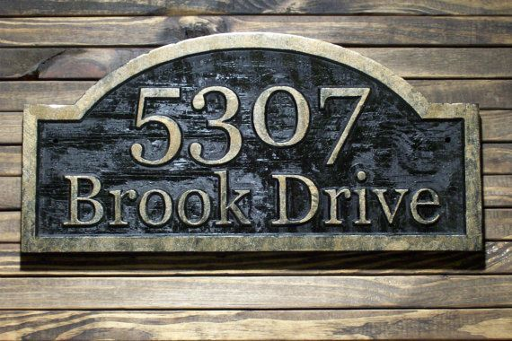 Wood Address Plaque Custom Carved Antique Brass Finished Etsy Custom Carved Custom Sign Address Plaque