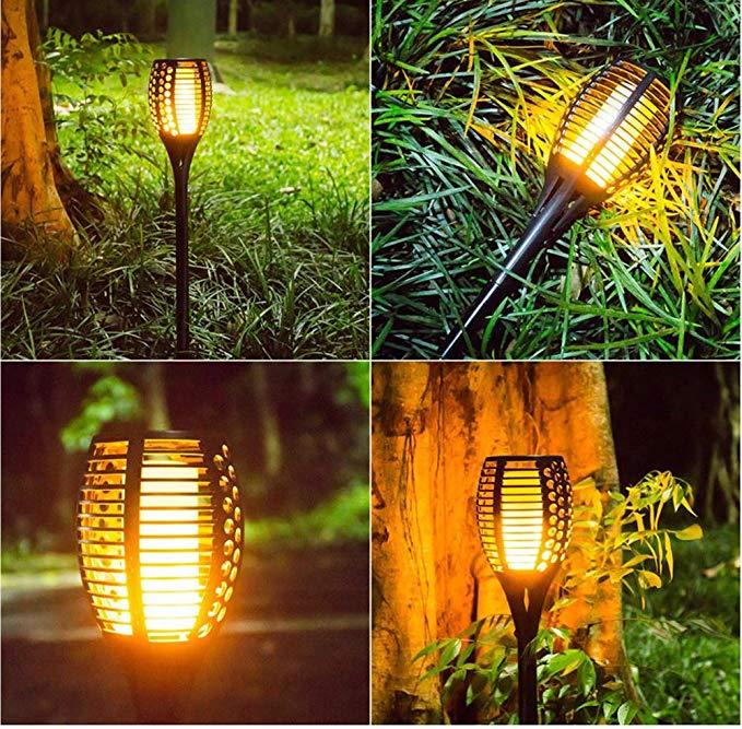 2pcs RGB Solar Laterne Solarleuchte Garten Flackernde Lampen Solarlampe Außen DE