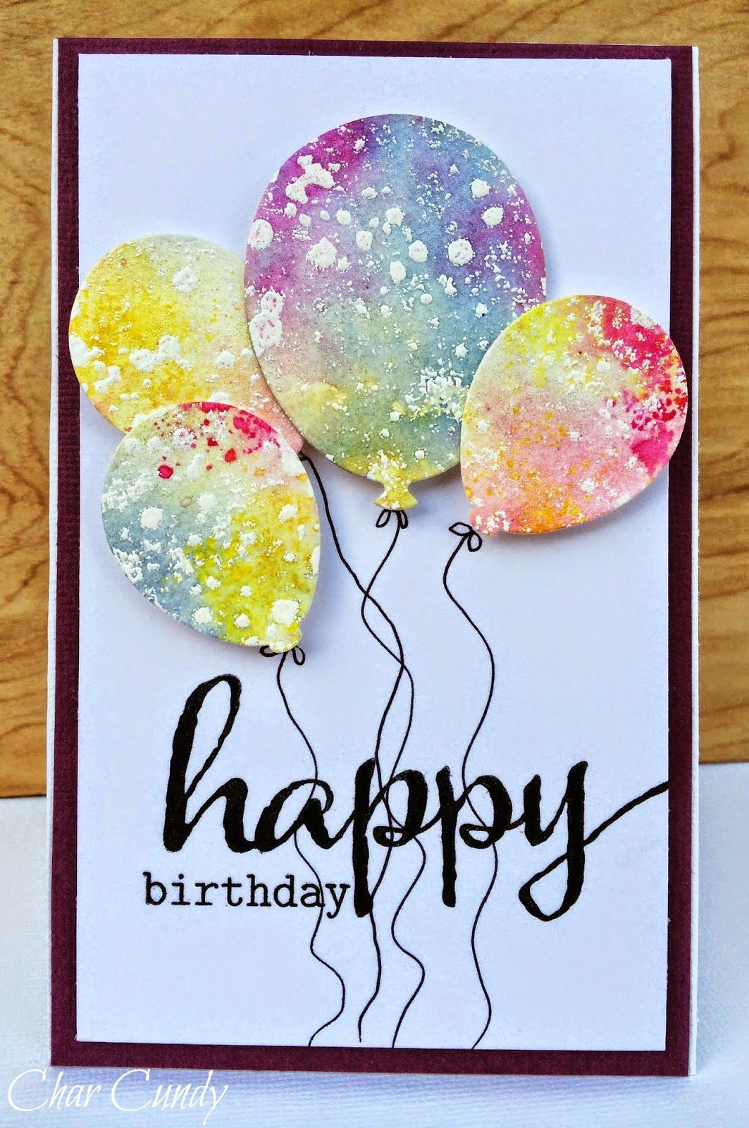 Handmade Birthday Card From Expressions Of Me A Little Watercoloring Delightful Punched Die Cut Balloons Fanciful Watercolored Paper Fab