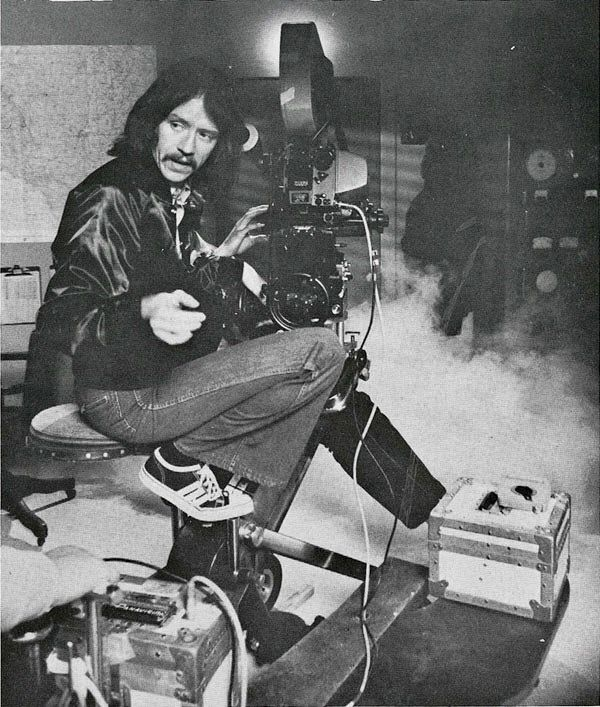 "Director John Carpenter behind the scenes of ""THE FOG"" (1980) with fog machines"