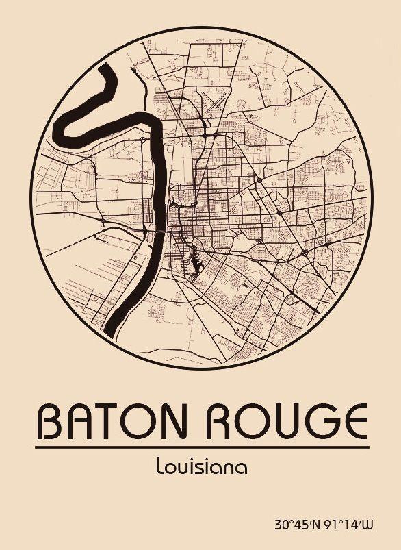 Karte / Map ~ Baton Rouge, Louisiana - Vereinigte Staaten von ...
