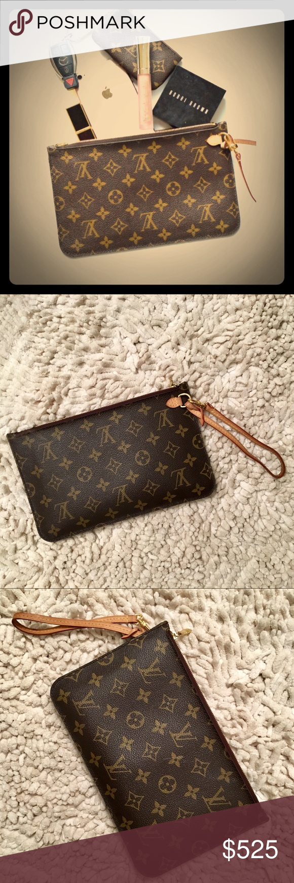 8cb66a2576e Authentic Neverfull GM Monogram Pochette Clutch After 2014