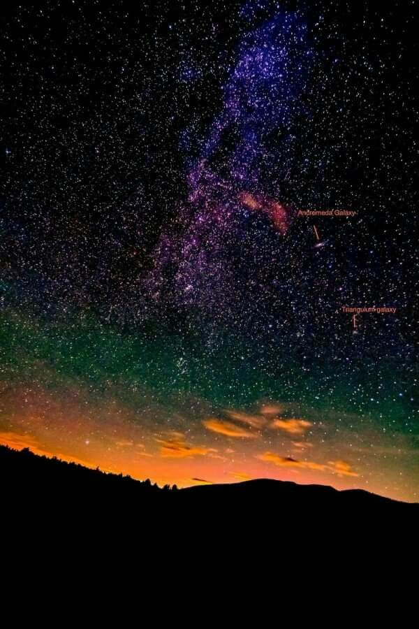 The Milky Way plus 2 large nearby galaxies in our own Local Group.  Photo by Linda Spadero.   http://bit.ly/1Rmfvto