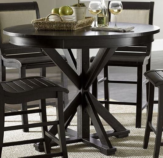 Willow Distressed Black Round Counter Height Dining Table In 2020 Round Counter Height Table Dining Table Design Dining Table