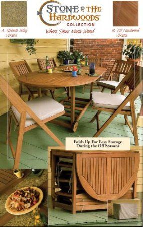 Outdoor Interiors S10666g 7 Piece Oval Fold And Store Table Set With Cushions A Counter Height Dining Table Set Patio Set Indoor Outdoor Furniture