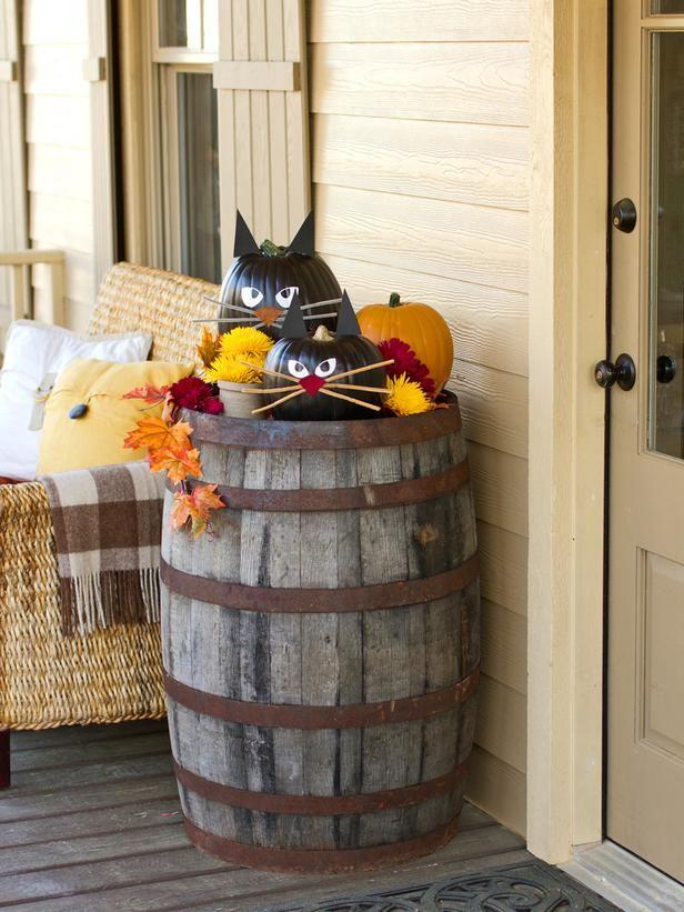 How Make Black Cat Pumpkins Halloween Decorations For
