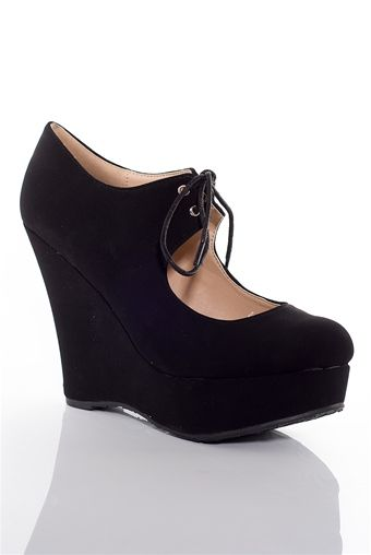 Touch the Sky Faux Suede Round Toe Platform Wedges - Black from Gemini at Lucky 21