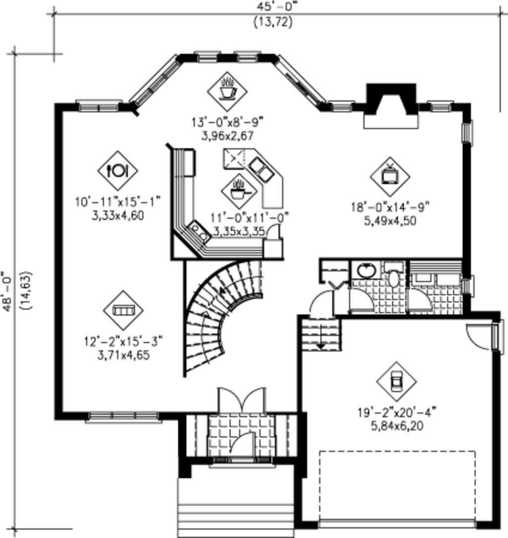 2575 sq ft house plan 25 4240 45 w x 48 d main floor for Bathroom remodel 70 square feet
