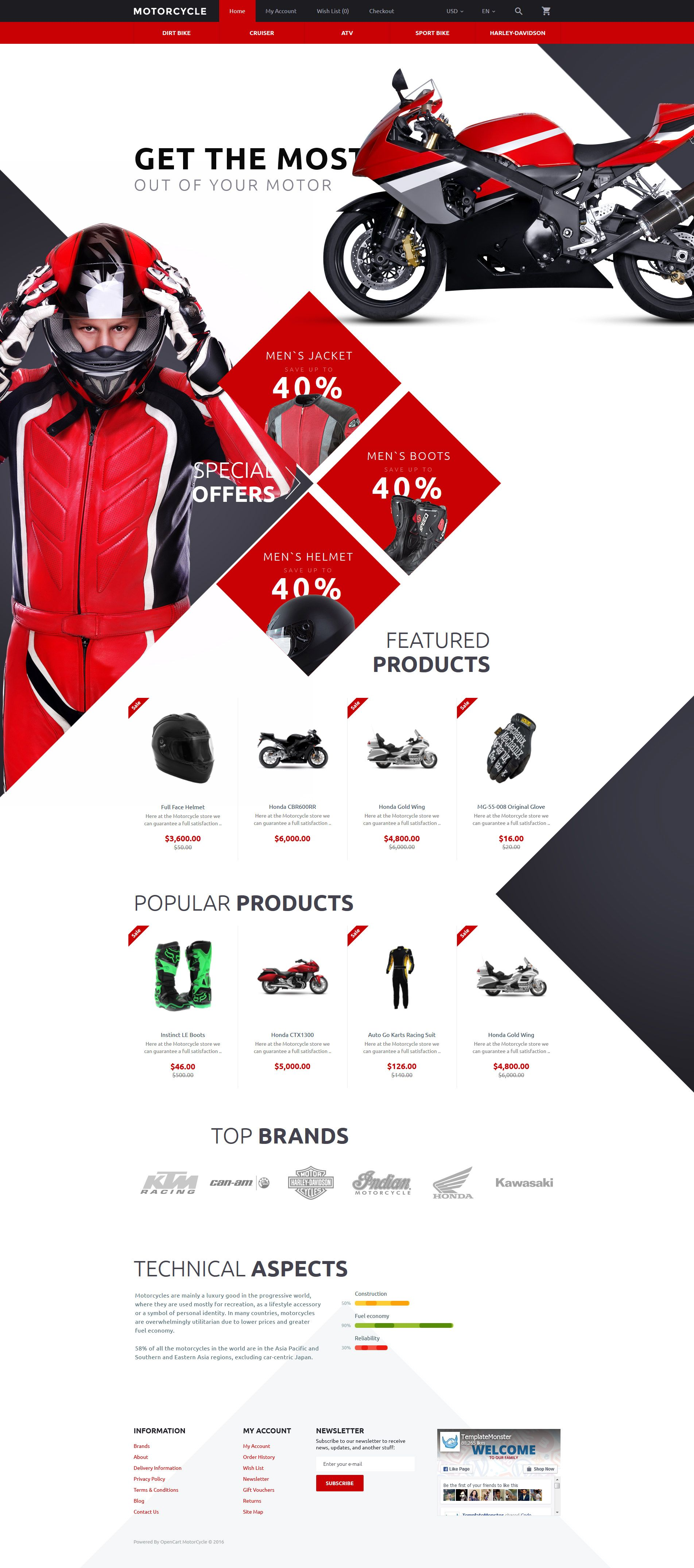 Motocross Opencart Template Opencart Templates Web Template Design Web Graphic Design