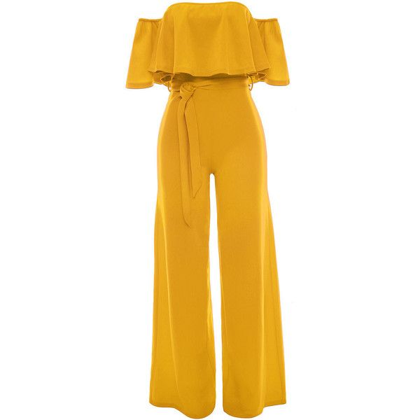 e48badb11fd Off Shoulder Flounce Plain Wide-Leg Jumpsuit ( 34) ❤ liked on Polyvore  featuring jumpsuits